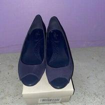 Women's Bandolino Bdcandra Navy Fb Slip-on Peep-Toe Dress Wedge Sandal Shoes Photo