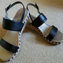 Women's Bandolino Black Strap Sandals With Cork Braided Rope Wedge Heel Sz 9.5 Photo