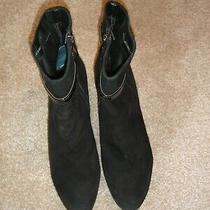 Women's Bandolino Black Suede Boots 3 Inch Heel Size 8 1/2 M Photo
