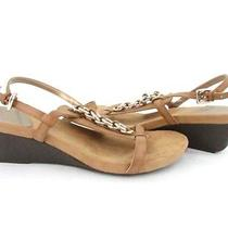 Women's Bandolino Happy Me Natural Ankle Strap Wedge Sandal Sz 10m Nwb Photo