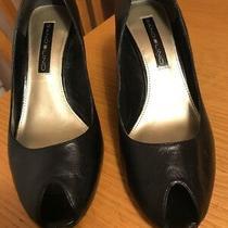 Women's Bandolino Leather Wedge Peep-Toe  Black Size 7m-Comfortable Shoes Pump Photo