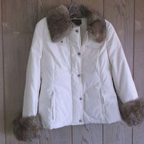 Women's Bcbg Max Azira Down and Rabbit Jacket Coat Small White Photo