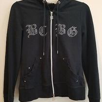 Women's Bcbg Maxazria Black Drawstring Hoodie Jacket Rhinestones Logo Size S Photo