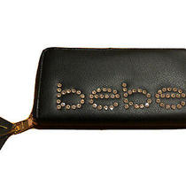 Women's Bebe Black Leather Zip Around Jetta Wallet / Clutch Slg Rhinestones Nwt Photo