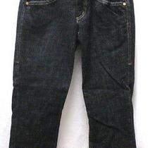Womens Bebe Premium Denim Black Double Button Skinny Crop Jeans Size 27 Photo