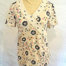 Women's Beige & Black Retro Floral Print Spandex Blend Top by Classic Elements S Photo