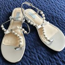 Women's Betsey Johnson Pearl Silver Thong Sandals Size 9.5 Used Once Photo