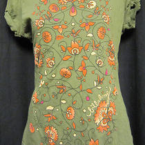 Women's Billabong Shirt Green With Tole Flowers Medium Usa - Free Shipping Photo