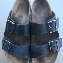 Womens Birkenstock Arizona Midnight Blue Leather Soft Footbed Sandals 8 N / 39 Photo
