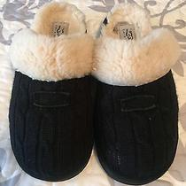 Women's Black Cable Knit Ugg Slippers 9 Photo