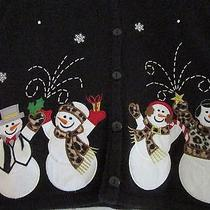 Women's Black Classic Elements M 10/12 Holiday Button Up Sweater Snowmen Photo