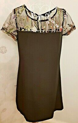 Women's black embroidered Xmas shift dress size 10/12 Coveted Avon BNWT Photo