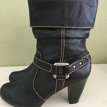 Women's Black Fossil Mid Calf Biker Style Boot With 3 1/4
