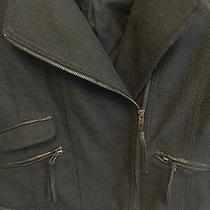 Women's Black Guess Cropped Biker Jacket Size Small. Faux Trim Vintage Photo