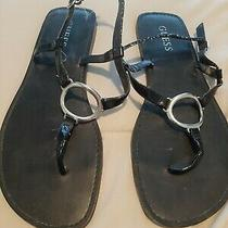 Women's Black Guess Thong Sandal. 8m. Silver Hardware  Photo