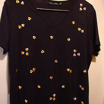 Women's Black Halloween Shirt Sprinkled With Candy Corn - Size Pl Photo