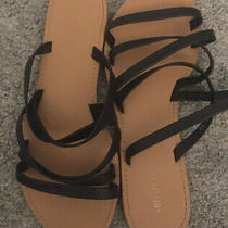 Womens Black Leather Strappy Sandals Size 8 Photo