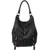 Women's Black Rivet Stitch It Faux-Leather Convertible Hobo / Backpack Zni Photo
