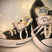 Women's Black Rockstar Converse Double Tongue Chuck Taylors Size 9 Photo