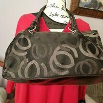 Women's Black Soft Tote Vintage Guess Glitter Fabric Clasp Closure Handbag Purse Photo
