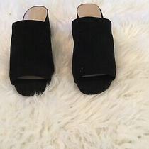 Womens Black Suede Block Heel Mules (9) Photo