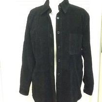 Women's Black Suede Button Up Shirt Jacket Size M Bagatelle Euc Photo