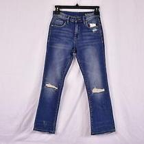 Women's Blanknyc Distressed Straight Legged Crop Denim Jeans Blue 26 Photo