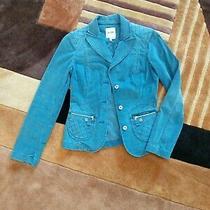 Women's Blazer Jacket Top Velvety Soft Pretty Blue Size 6 Moschino Jeans Photo