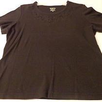 Women's Blouse Shirt Pullover Black Short Sleeve Classic Elements Medium Photo