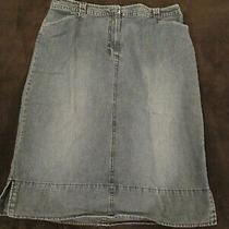 Womens Blue Denim Skirt Size 12 Below Knee Straight Jean Skirt Classic Elements Photo