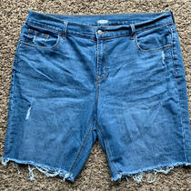 Womens Blue Old Navy Cutoff Distressed Denim Shorts Size 16 Photo