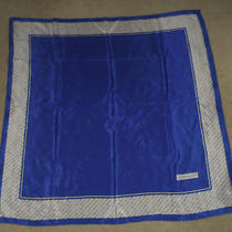 Women's Blue White & Black Yves Saint Laurent 100% Silk Logo Pattern Scarf Guc Photo