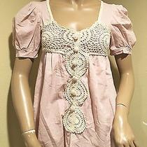 Women's Blush Color Crochet Detail Blouse S/m Photo