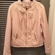 Women's Blush Colored Moto Jacket - Size Large Photo