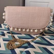 Women's Blush White Woven Pink Pom Pom Clutch Crossbody Bag Photo