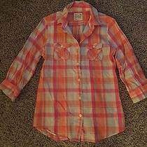 Women's Bright Colored American Eagle Plaid Button Down Shirt - Size S  Photo