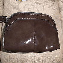 Womens Brighton Brown Patent Leather Coin Pursezips Uptin Container Photo
