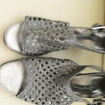 Women's Brighton Realm Pewter Wedge Ankle Strap Sandals Size 10m Photo