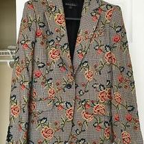Womens Brooks Brothers Flower Embroidered Checked Blazer Jacket Size 2 Unique Photo