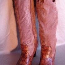 Women's Brown Croc-Imprinted Leather Boots by Newport News  Sz 7m Pre-Owned Photo