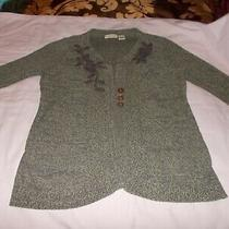 Women's Brown Dkny Jeans Sweater Cardigan Size L Buttons Embroidery 3/4 Sleeves Photo