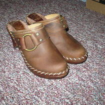 Women's Brown Leather Clogs Mules Frye Charlotte Ring Sz 6 Cute Photo