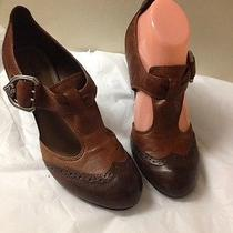 Women's Brown Leather Two Tone Vince Camuto Mary Jane Heels Size 8 Photo