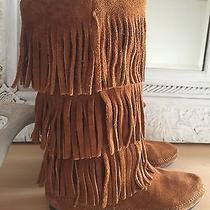 Women's Brown Minnetonka 3-Layer Fringe Leather Suede Festival Boot Size 8 Photo