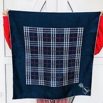 Women's Burberry Vintage Blue Nova Check Print 100% Silk Scarf Photo