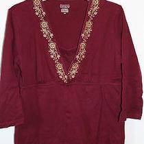 Women's Burgundy Classic Elements Blouse Size Medium 100% Cotton Photo
