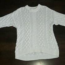 Women's Cable Knit White Sweater Loose Chunky Oversized Long Boyfriend Siz Small Photo