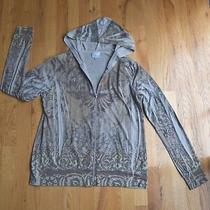 Womens California Bloom Gray Floral/geometric Zipper Lightweight Hoodie (M)  Photo
