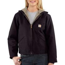 Women's Carhartt Sandstone Sierra Hooded Jacket With Sherpa Lining Deep Wine Photo