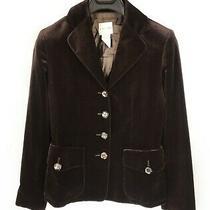 Women's Celine Velvet Blazer France Casual Cotton Brown Velour Coat Jacket - 42 Photo